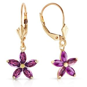 14K. GOLD LEVER BACK EARRING WITH NATURAL AMETHYST